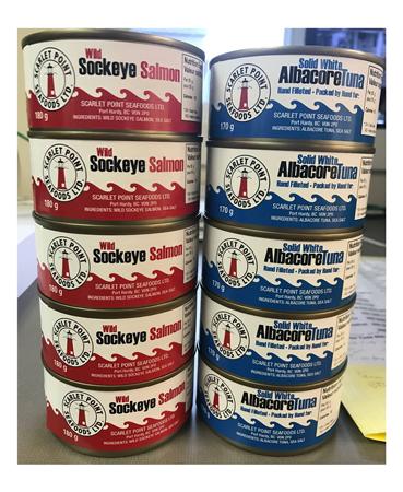 canned tuna + salmon